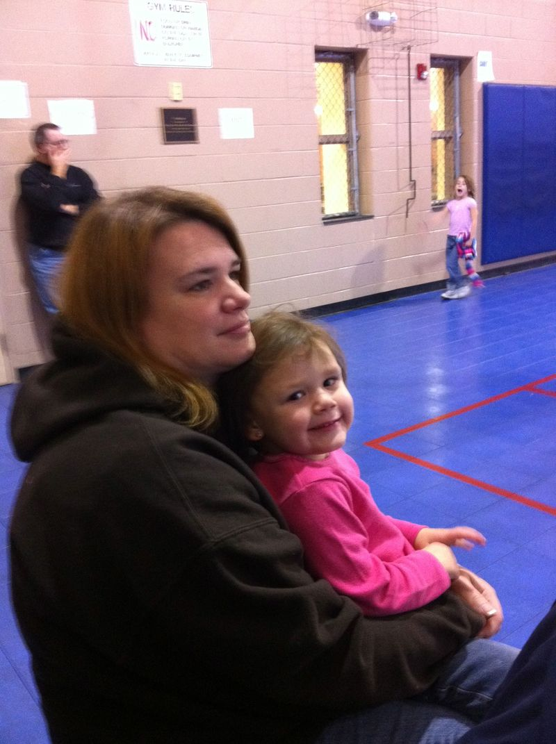 Abi w Mom at basketb game